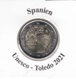 Spanien 2 € 2021, Unesco Altstadt Toledo, bankfrisch