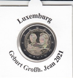 Luxemburg 2 € 2021, Geburtstag Jean , bankfrisch , Fotoprägung