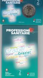 Italien 2 € 2021, Grazie / Gesundheitswesen Coincard