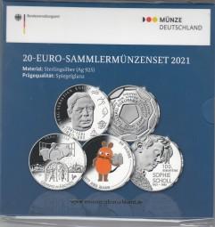 Deutschland 20 € Set 2021, PP, Scholl, Kneipp, Fußball, Maus+ Frau Holle