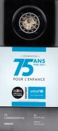 Frankreich 2 € 2021, Unicef in PP im Etui + Zertifikat
