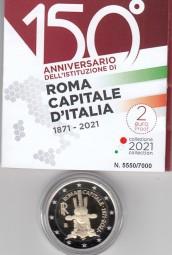 Italien 2 € 2021, 150 Jahre Rom PP, incl. Etui + Zertifikat