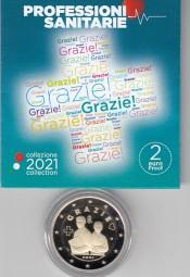 Italien 2 € 2021, Gesundheitswesen / Grazie, PP mit Etui+Zertifikat